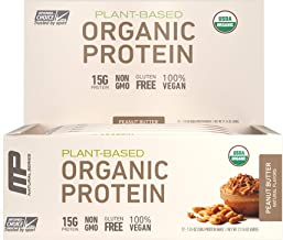 Muscle Pharm MP Organic Protein Bar, Certified USDA Organic, 15g Plant Based Protein, No Artificial Ingredients, Gluten Free, Non GMO, Peanut Butter, 12 bars