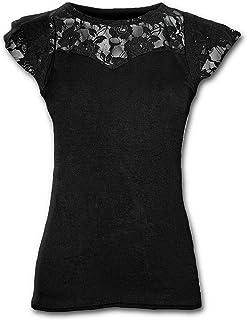 Spiral Direct Gothic Elegance-Lace Layered Cap Sleeve Top Black Camiseta para Mujer