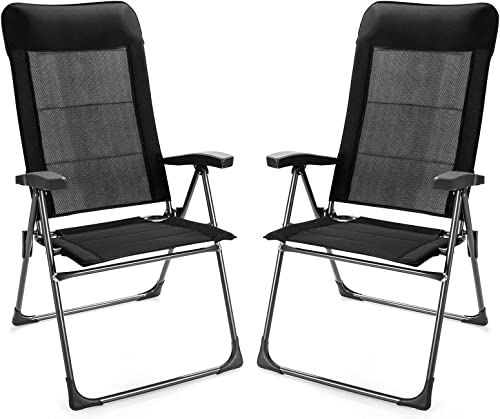 Giantex Set of 2 Patio Dining Chairs, Folding Patio Chairs, Outdoor Lawn Chairs with Adjustable Backrest and Headrest, Sling Camping Chairs, Portable Armchair for Porch Poolside Garden Backyard