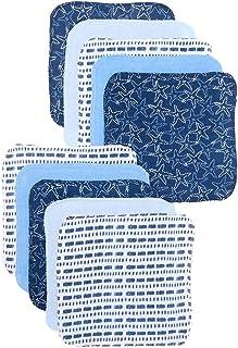 Spasilk Baby 10 Pack Soft Terry Bath Washcloth Wipes, Blue Starfish