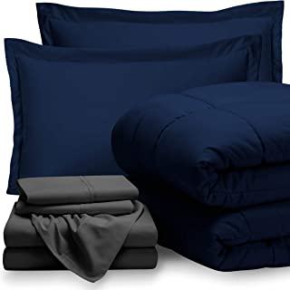 Bare Home Bed-in-A-Bag 7 Piece Comforter & Sheet Set - Full Extra Long - Goose Down Alternative - Ultra-Soft 1800 Premium - Hypoallergenic - Breathable Bedding Set (Full XL, Dark Blue/Grey)
