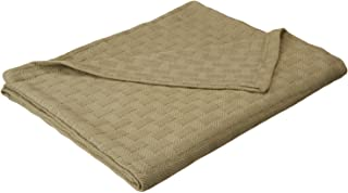 Superior 100% Cotton Thermal Blanket, Soft and Breathable Cotton for All Seasons, Bed Blanket and Oversized Throw Blanket with Luxurious Basket Weave Pattern - Full/Queen Size, Sage
