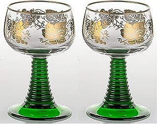 Set of 2 German Rhein Glass Roemer Vintage Goblet Wine Glass w/ Gold-Leaf Rim and Grape Pattern Vintage Wine Glass Goblet