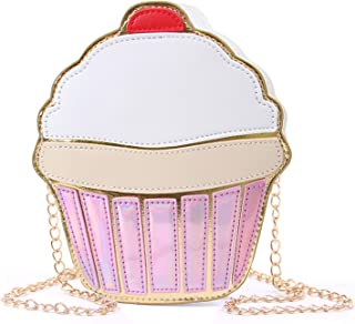 SUKUTU Girls Cupcake Popcorn PU Leather Crossbody Bag Shoulder Bag Small Purse and Cell Phone Bag