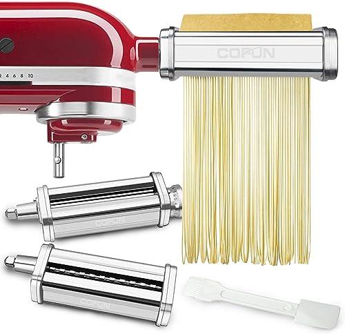 Pasta Maker Attachments Set for KitchenAid Stand Mixers, 3 Pcs Stainless Steel Pasta Maker Attachment for Kitchenaid,...