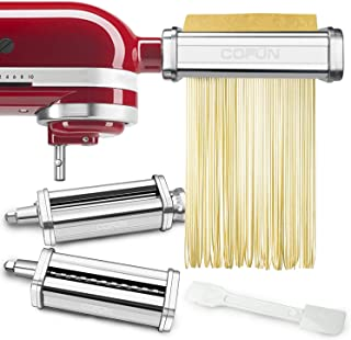 3 Pcs Pasta Sheet Roller Attachments Set for KitchenAid Stand Mixers, Stainless Steel Pasta Maker Accessories By COFUN