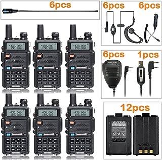 BaoFeng Radio UV-5R Dual Band Two Way Radio (6 Pack) + 6 NA-771 Antennas and Speaker Mics + 12 1800mah Batteries + 1 Programming Cable Baofeng Walkie Talkie Ham Radio