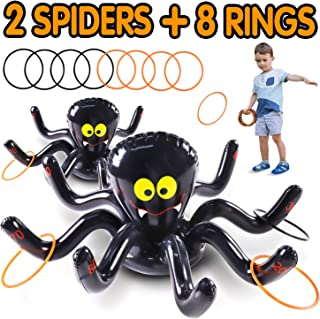 Max Fun Halloween Inflatable Spiders Ring Toss Game Set - Pack of 2 for Kids Carnival School Party Favor Supplies Holiday Decoration Novelty Toy Outdoor Indoor Lawn Garden Backyard Spooky Creepy Game