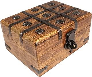 Axventari Large Treasure Chest Box Wood Decorative Keepsake 9