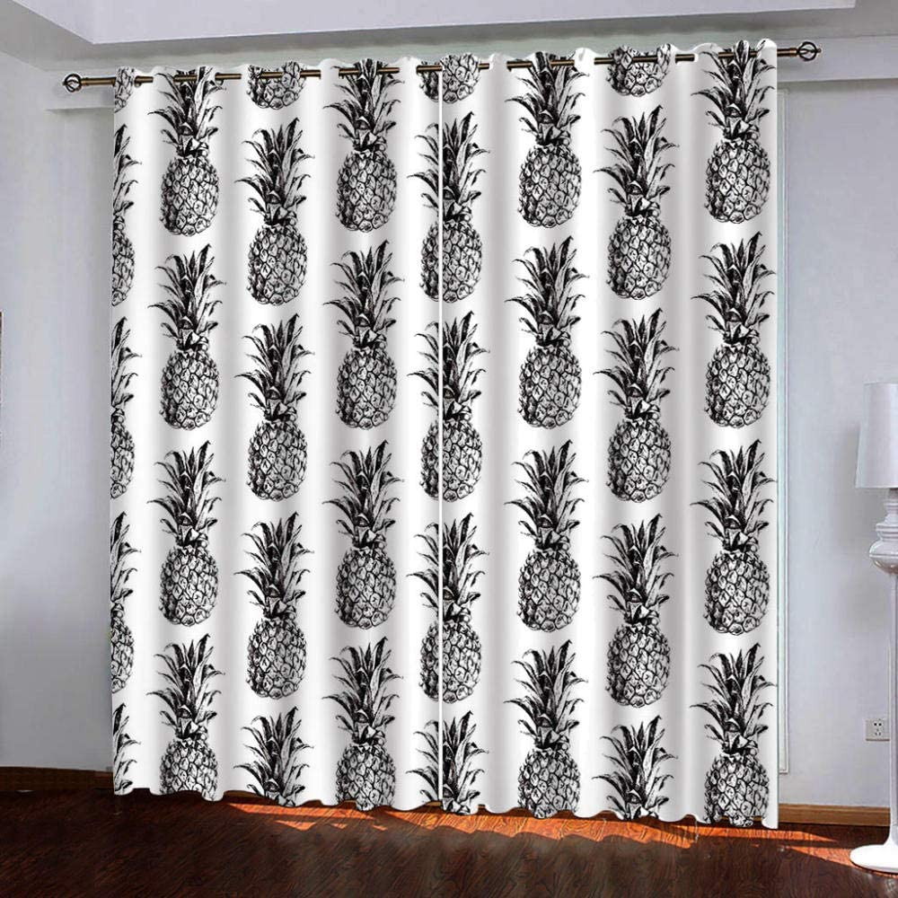 Eyelet Blackout Discount is also underway Daily bargain sale Thermal Insulated Curtains, Pineapple Black