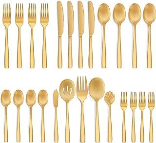 طقم ادوات مائدة من الستانلس ستيل ذهبي غير لامع من هايوير، ادوات مطبخ لتناول الطعام ل4 اشخاص، امنة للاستخدام في غسالة الصحون