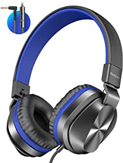 PeohZarr On-Ear Headphones New Version with Microphone, Lightweight Folding Stereo Bass Headphones with 1.5M Tangle Free Cord, Portable Wired Headphones for Smartphone Laptop Computer MP3/4-Blue