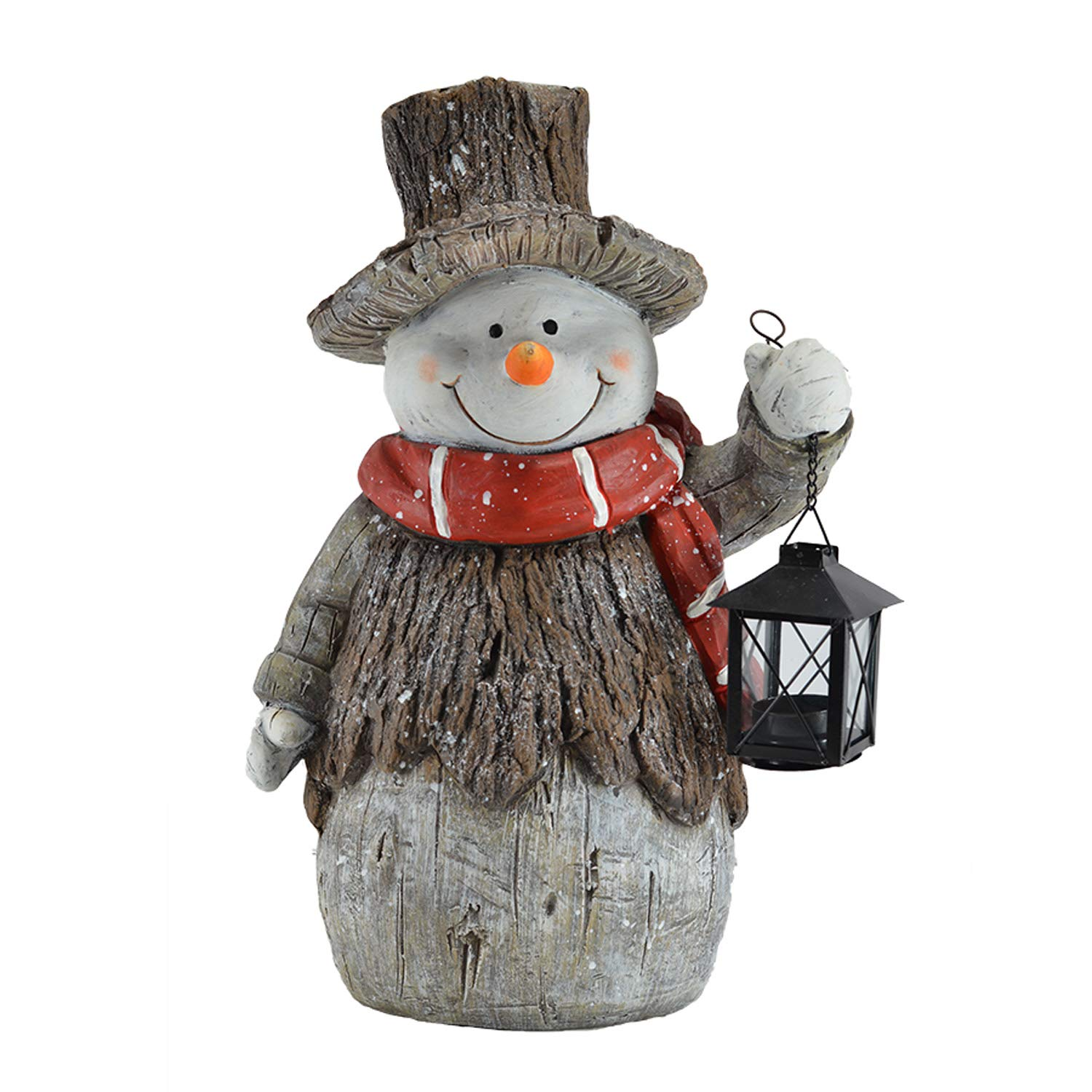 Image of Door Greeter Snowman Figure Statue with LED Light Up Lantern