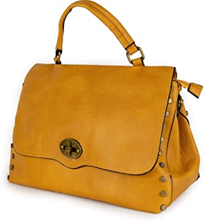 Borsa con borchie donna a mano borchiata da lavoro ufficio tipo bag messenger postina grande capiente tracolla porta docum...