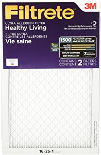 Filtrete MPR 1500 16x25x1 AC Furnace Air Filter, Healthy Living Ultra Allergen, 2-Pack