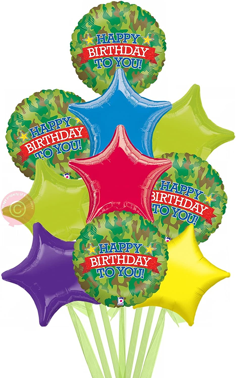 Camouflage Birthday Holographic  Inflated Birthday Helium Balloon Delivered in a Box  Biggest Bouquet  10 Balloons  Bloonaway