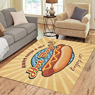 Pinbeam Area Rug Red American Hot Dog Sandwich Ketchup and Mustard Home Decor Floor Rug 3' x 5' Carpet