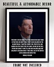 "Ronald Reagan Quotes Wall Art- ""Freedom is One Generation Away""- 8 x 10"