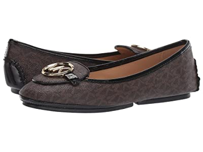MICHAEL Michael Kors Lillie Moc (Brown Mini MK Logo Semi Lux/Patent) Women