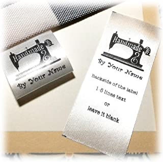 100 pcs Sewing Machine Design Handmade Business Custom Text Logo Personalized Sewing Hanging Satin Ribbon Clothing Labels Folding Name tag Washable wash Care Handmade Label D
