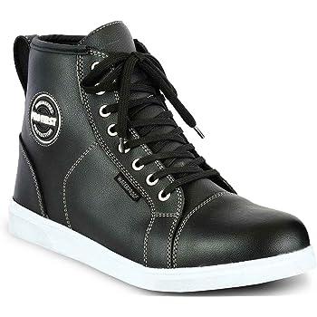 JET Bottes Chaussures Moto Homme D/écontract/é Imperm/éable Armure Denim Cuir EU 43, Noir Complet