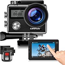 Campark X20 4K Action Camera 20MP with EIS Touch Screen Remote Control Waterproof Camera 30M 170° Adjustable View Angle 2 Batteries and Accessories Kit