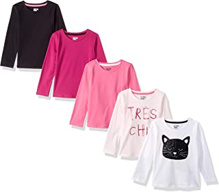 Amazon Brand - Spotted Zebra Girl's Toddler & Kids 5-Pack Long-Sleeve T-Shirts