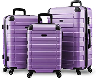 Hipack Prime Suitcases Hardside Luggage with Spinner Wheels, Lavender, 3-Piece Set (20/24/28)