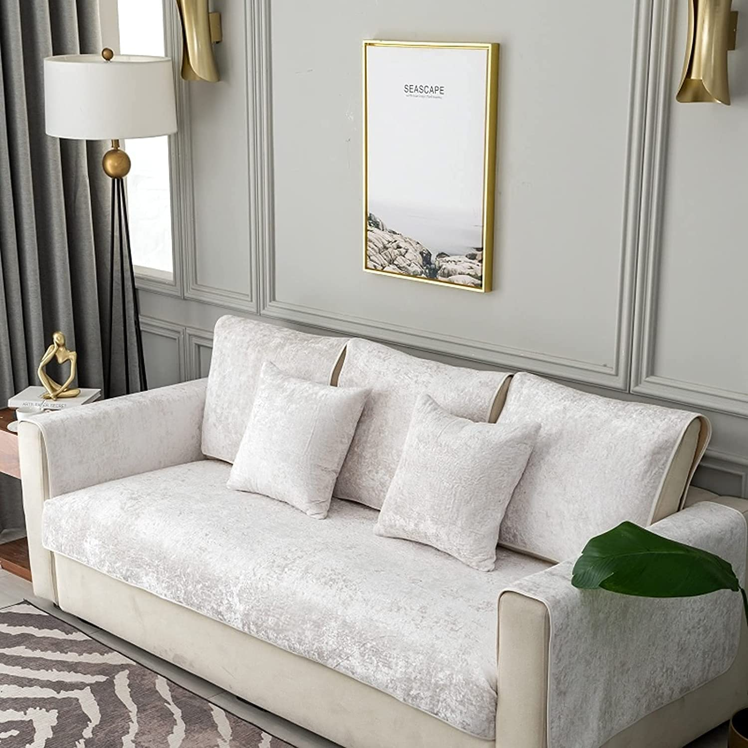 Charlotte Mall ZYZCJT 100% Waterproof Jacquard Max 49% OFF Suede Slipcover Sofa