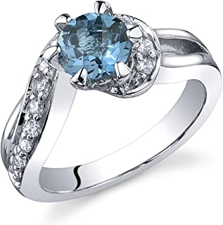 Majestic Wave 1.00 carats London Blue Topaz Ring in Sterling Silver Rhodium Nickel Finish Sizes 5 to 9