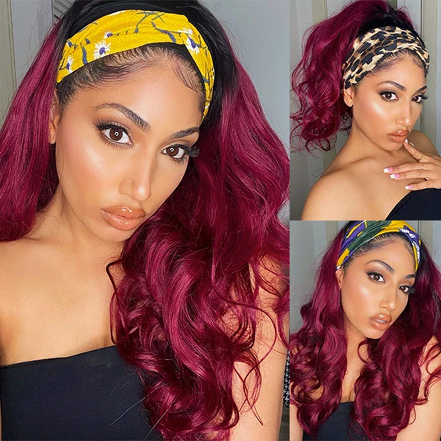 Ombre Headband Curly Wigs 40% OFF Cheap safety Sale for Body Women Burgundy Long Wav