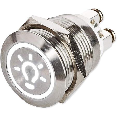 Led Drucktaster Ø 19 Mm 230 V Flacher Edelstahl Taster Beleuchtetes Licht Symbol Schraubkontakte Ac Dc Weiß Baumarkt