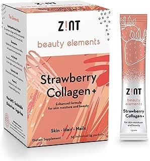 Zint Sweet Marine Collagen Powder Beauty Drink Mix (Strawberry): Sugar-Free Collagen Peptides Drink w/Glucosamine, Hyaluronic Acid, Vitamin C, Acai Extract (30 5g Packets)