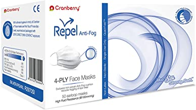 R2970SI Cranberry Repel Series R2970 4-Ply Anti-Fog Earloop Face Mask, Silver/Pearl (Pack of 50)