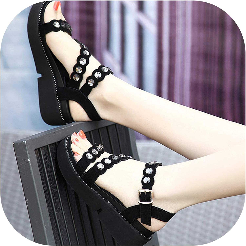 NorthEsther Luxury Plus Size 42 43 Sandals Fe Black Platform Sandals Rhinestone Wedges Black shoes