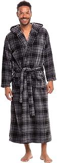 Alexander Del Rossa Men's Warm Flannel Fleece Robe with Hood, Big and Tall Bathrobe