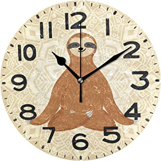 Naanle Cute Cartoon Sloth Sitting in Yoga Lotus Pose and Relaxing Round Wall Clock Decorative, 9.5 Inch Battery Operated Quartz Analog Quiet Desk Clock for Home,Office,School(Brown)