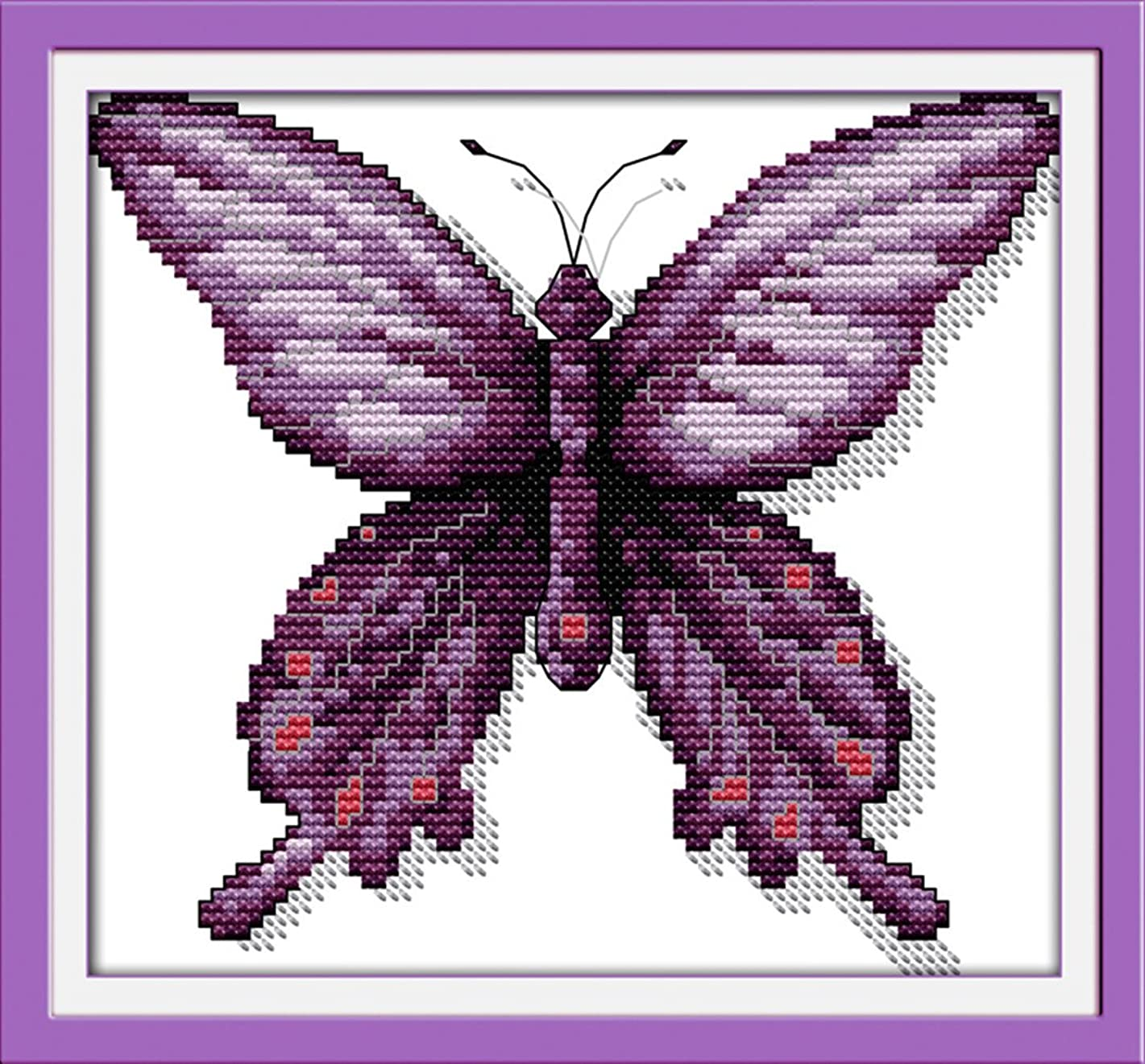 YEESAM ART New Cross Stitch Kits Advanced Patterns for Beginners Kids Adults - Purple Butterfly 11 CT Stamped 24×22 cm - DIY Needlework Wedding Christmas Gifts
