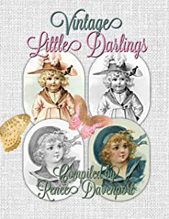 Vintage Little Darlings: Grayscale Adult Coloring Book
