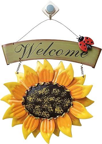 2021 Handcrafts Vintage Front Door Welcome Sign popular Ladybug Sunflower Welcome Sign Door Decor Hanging Outdoor Wreath Decorative Door Porch new arrival Bar Cafe Shop Decoration Ornament, 12In outlet sale