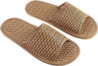 TENDYCOCO Zapatillas de Paja de bambú Zapato Abierto con Flip-Flop Deslizamiento de casa en baño SPA Sandalia de Verano Zapatos de Diapositivas Ligeros para Mujeres (44/45)