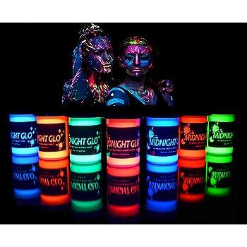 UV Body Paint (7 x 0.75oz) Black Light Paint Black Light Makeup Bodypainting Neon Body Paint UV Blacklight Glow Face Paint Neon Fluorescent for Black Light Parties