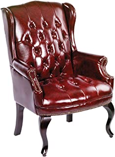 Boss Office Products Wingback Traditional Guest Chair in Burgundy