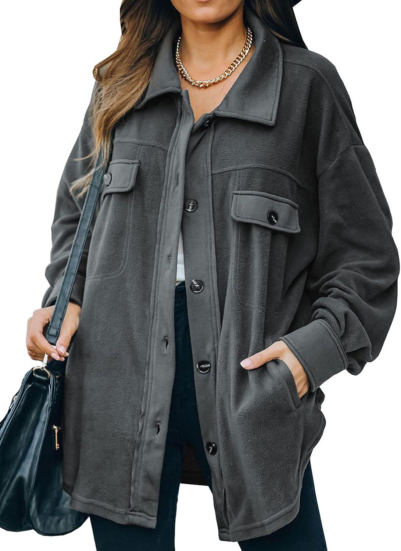Astylish Womens Max 62% OFF Casual Coat Long Sleeve Shacket Max 44% OFF Jacket wit Shirt