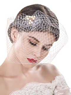 f9f5d7f5c7a9e Yean Bride Wedding Veil White Flower Pearl Bridal Birdcage with Comb  Fascinator Hair Accessories for Women