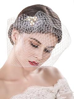 64add0f104b96 Yean Bride Wedding Veil White Flower Pearl Bridal Birdcage with Comb  Fascinator Hair Accessories for Women