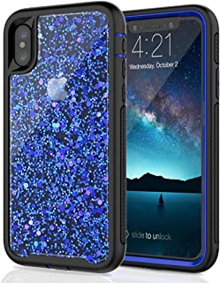 SEYMAC Stock for iPhone X/iPhone Xs Girls/Women Case, [Hybrid Drop Protection] case Shiny [in-Material-Decoration Design], Dual Layer Flexible Protective Case for iPhone X/XS 2017/2018 - Blue