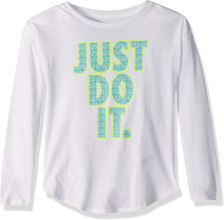 Nike Children's Apparel Girls' Little Long Sleeve JDI Graphic T-Shirt, White/Jade/Volt, 6X