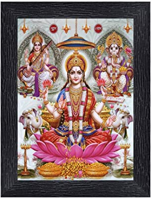 PnF Diwali Puja (laxmiji, Ganeshji,Saraswatiji) Religious Wood Photo Frames with Acrylic Sheet (Glass) for Worship/Pooja(photoframe,Multicolour,8x6inch) 20385