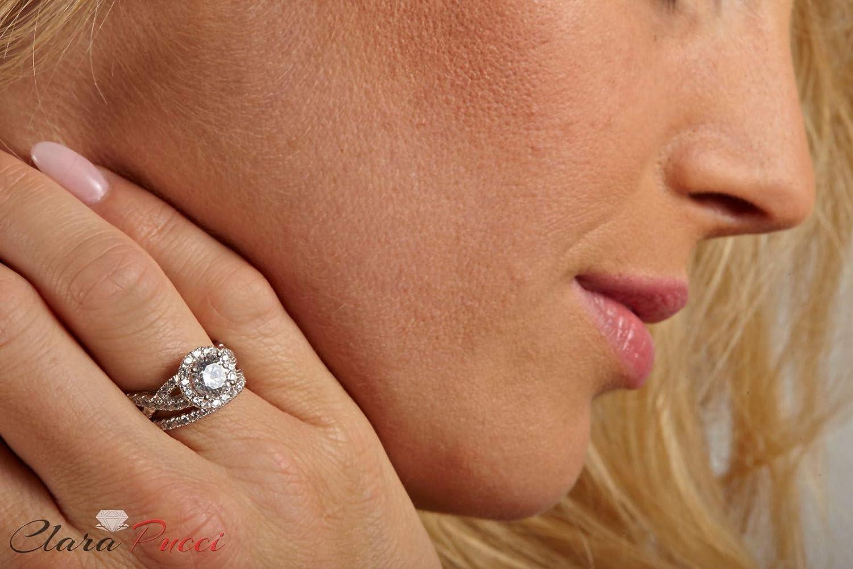 Clara Pucci 2.3 CT Round Cut CZ Pave Halo Bridal Engagement Wedding Ring band set 14k White Gold